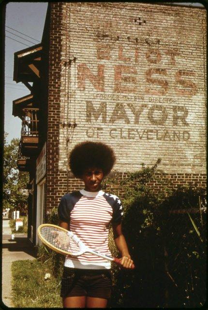 Anuncio para la campaña de Eliot Ness en 1947 para alcalde, vista en 1973