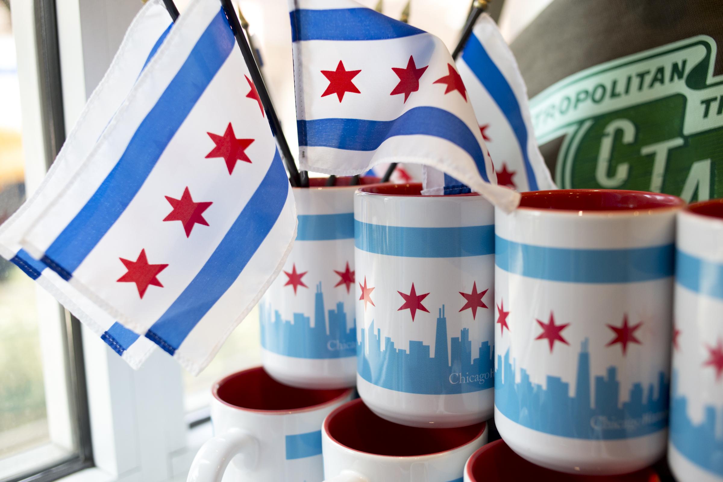 souvenirs con la bandera de chicago