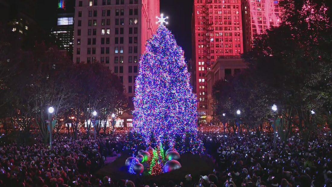 Así fue el encendido del árbol de navidad en Chicago 2019