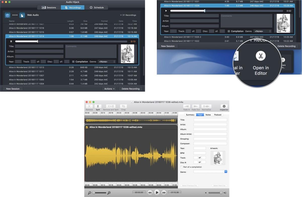 Audio Hijack, reproduciendo la grabación