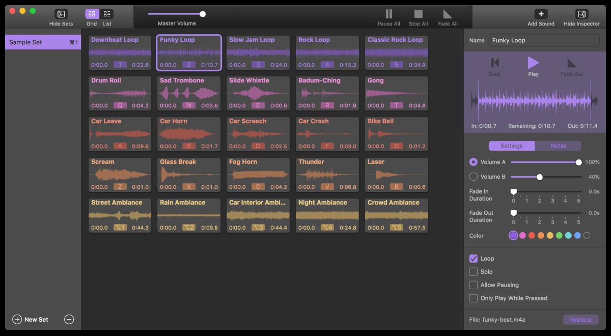 El soundboard de farrago para mac es ideal para crear podcast y shows