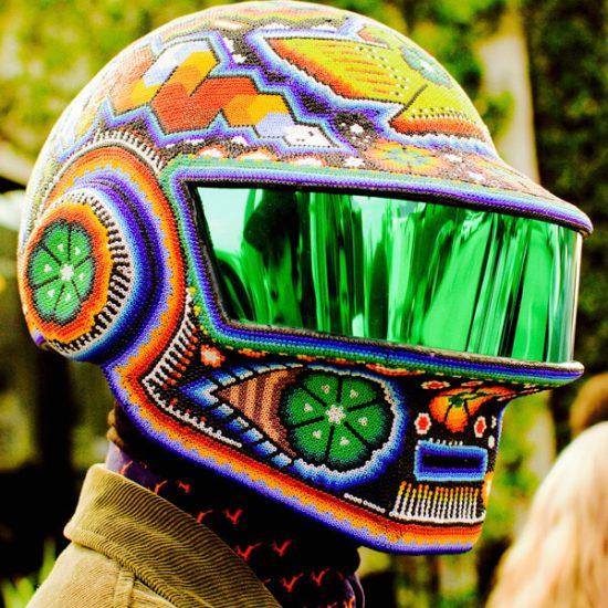 Huichol art in Daft Punk helmets